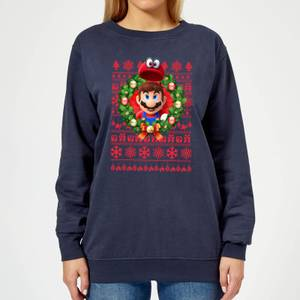 Nintendo Super Mario Mario and Cappy Women's Sweatshirt - Navy