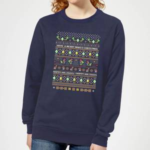 Nintendo Super Mario Yoshi Have A Merry Mario Christmas Women's Sweatshirt - Navy