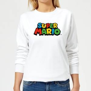 Nintendo Super Mario Colour Logo Women's Sweatshirt - White
