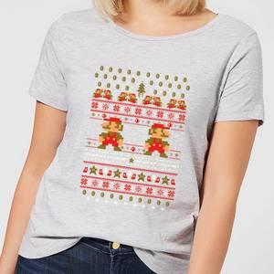 Nintendo Super Mario Ho Ho Ho Its A Me Women's Christmas T-Shirt - Grey