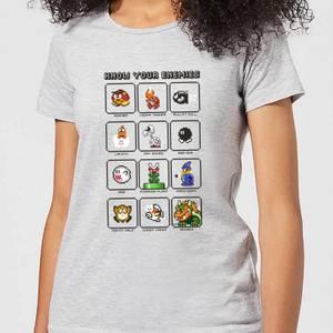 T-Shirt Nintendo Super Mario Know Your Enemies - Grigio - Donna