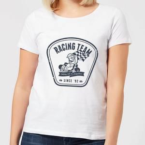 任天堂马里奥卡丁车赛车队女装T恤-白色。