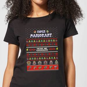 Nintendo Mario Kart Here We Go Women's Christmas T-Shirt - Black