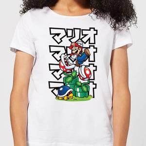 Nintendo Super Mario Piranha Plant Japanese Women's T-Shirt - White