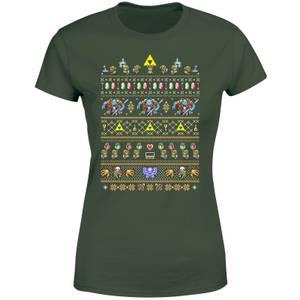 Nintendo Retro Women's Christmas T-Shirt - Forest Green