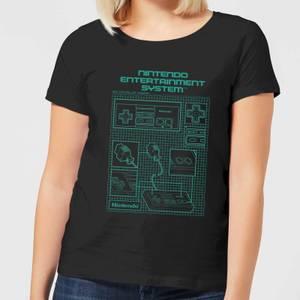 T-Shirt Nintendo NES Controller Blueprint - Nero - Donna