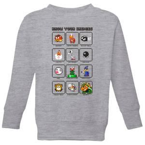 Nintendo Super Mario Know Your Enemies Kid's Sweatshirt - Grey