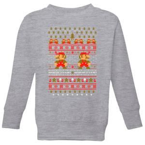 Nintendo Super Mario Ho Ho Ho Its A Me Kid's Christmas Sweatshirt - Grey