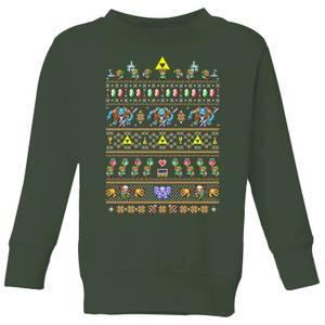 Felpa Nintendo Super Mario Retro Kid's Christmas - Forest Green