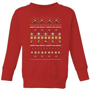Nintendo Super Mario Happy Holidays The Good Guys Kid's Christmas Sweatshirt - Red