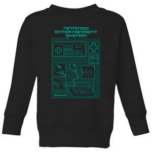 Nintendo NES Controller Blueprint Kid's Sweatshirt - Black