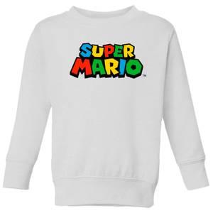 Nintendo Super Mario Colour Logo Kid's Sweatshirt - White