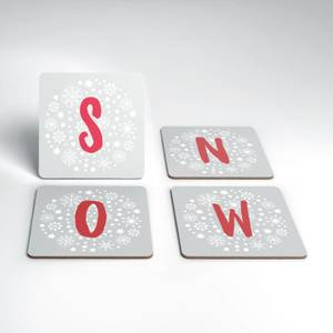 Snow Christmas Coaster Set