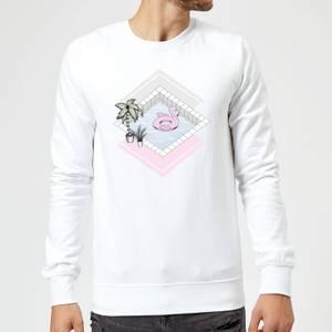Barlena Flamingos Paradise Sweatshirt - White