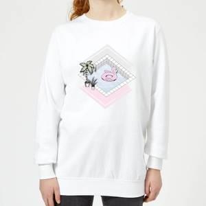 Barlena Flamingos Paradise Women's Sweatshirt - White