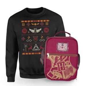 Harry Potter Hogwarts Sweatshirt & Bag Bundle - Black
