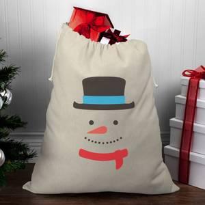 Snowman Face Christmas Santa Sack