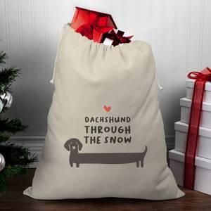 Daschund Through The Snow Christmas Santa Sack
