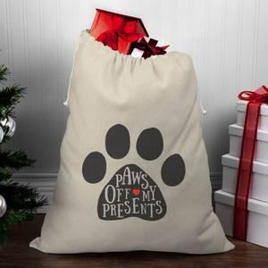 Paws Off My Presents Christmas Santa Sack