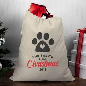 Fur Baby's First Christmas Christmas Santa Sack