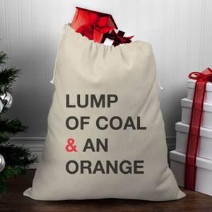 Lump Of Coal & An Orange Christmas Santa Sack