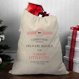 Christmas Delivery Service for A Good Little Girl Christmas Santa Sack