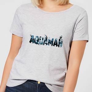 Aquaman Chest Logo Women's T-Shirt - Grey