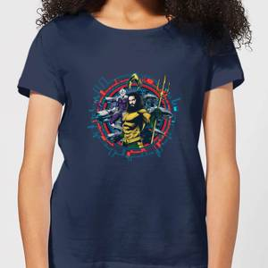 Aquaman Circular Portrait Women's T-Shirt - Navy