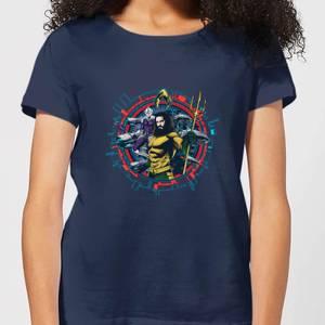 Aquaman Circular Portrait dames t-shirt - Navy