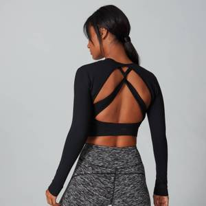 MP Women's Power Open Back Crop Top - Black