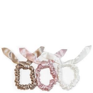Slip Silk Bunny Scrunchies - Caramel/Pink/White (Pack of 3)