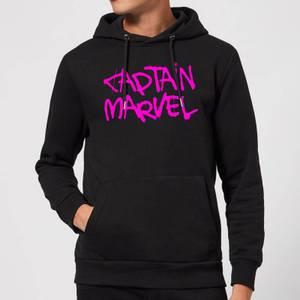 Captain Marvel Spray Text Hoodie - Black