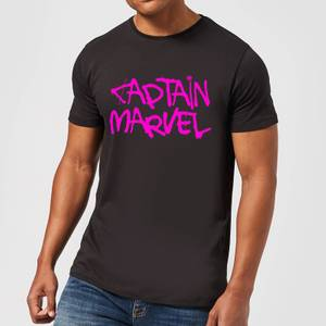 Captain Marvel Spray Text Men's T-Shirt - Black