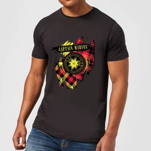 Captain Marvel Tartan Patch Men's T-Shirt - Black