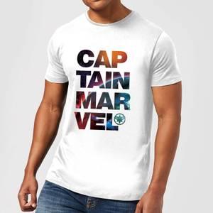 Captain Marvel Space Text Men's T-Shirt - White