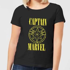 Captain Marvel Grunge Logo Women's T-Shirt - Black