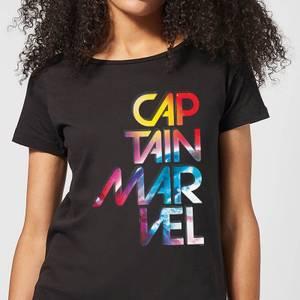 Captain Marvel Galactic Text Women's T-Shirt - Black