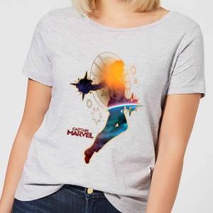 T-Shirt Captain Marvel Nebula Flight - Grigio - Donna