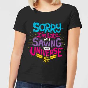 Captain Marvel Sorry I'm Late Women's T-Shirt - Black