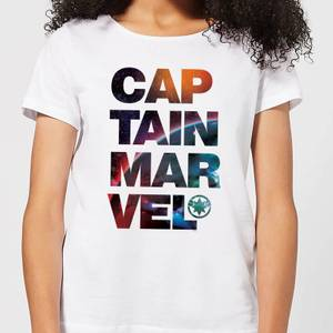 Captain Marvel Space Text Women's T-Shirt - White