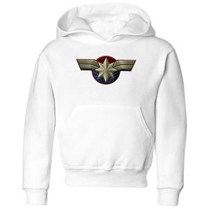 Captain Marvel Chest Emblem Kids' Hoodie - White