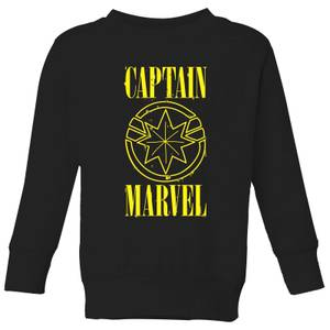 Captain Marvel Grunge Logo Kids' Sweatshirt - Black