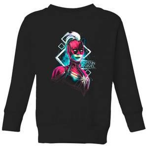Captain Marvel Neon Warrior Kids' Sweatshirt - Black