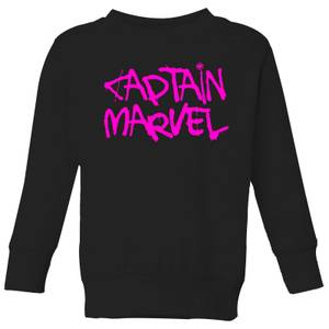 Captain Marvel Spray Text Kids' Sweatshirt - Black