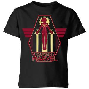 T-Shirt Captain Marvel Flying Warrior - Nero - Bambini