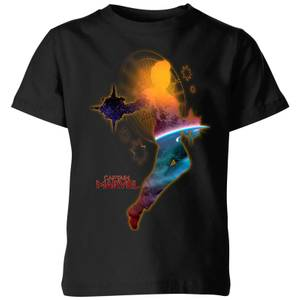 T-Shirt Captain Marvel Nebula Flight - Nero - Bambini