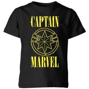 T-Shirt Captain Marvel Grunge Logo - Nero - Bambini