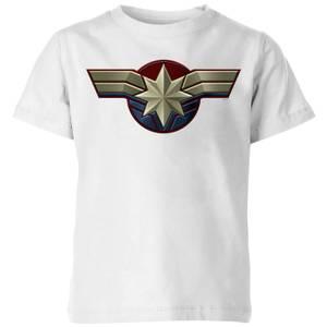 T-Shirt Captain Marvel Chest Emblem - Bianco - Bambini