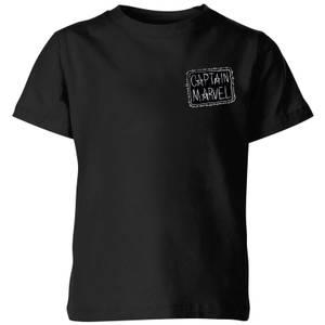 T-Shirt Captain Marvel Name Badge - Nero - Bambini