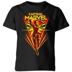 T-Shirt Captain Marvel Freefall - Nero - Bambini